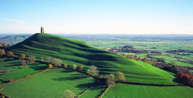 Tor and surrounding Somerset Levels Glastonbury UK aerial view
